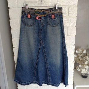 Carol Anderson For CAbi Boho Long Denim Skirt